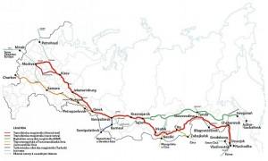 Mapa Transsibiřské magistrály