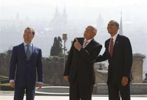 Václav Klaus, Barack Obama a Dmitrij Medveděv v Praze