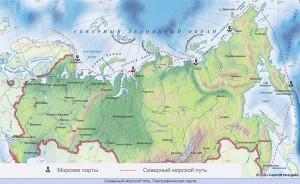 Mapa Severní námořní cesty.