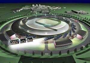 """Ilustrační obrázek kruhového urychlovače. V centrálním prstenci je částicím dodána velká energie, """"výběžky"""" z kruhu jsou jednotlivé laboratoře, kde jsou zpracovávany výsledky pokusů."""