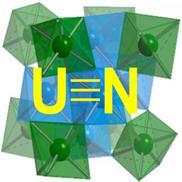 Schématické znázornění struktury mononitridu uranu, termodynamicky nejstálejší sloučeniny této třídy. Právě tyto látky možná v budoucnu nahradí tradiční směsné oxidy. Zatím však tato doba ještě nepřichází a vývoj událostí okolo reaktoru Hyperion přidává spíše pesimistickému pohledu.