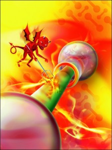Klasické vyobrazení Maxwellova démona. Démon je zde spíše označení, které má podtrhnout obecnou platnost principů termodynamiky bez ohledu na povahu přepážky a prostředí, ve kterém pokus provádíme. Nemá příliš význam v našem běžném světě, obyčejný spalovací motor je účinnější, nabývá však na významu při přechodu k velmi malým rozměrům, kde už záleží na působení jednotlivých atomů a molekul.