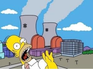Záběr z legendárního seriálu Simpsonovi, ilustrující obavy obyvatel před jadernou energetikou.