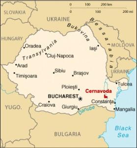 Obec Cernavodă na mapě Rumunska.