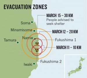 jaderná energie - Japonci zrušili pásmo evakuační pohotovosti mezi 20 až 30 kilometry okolo JE Fukušima - JE Fukušima (fukusima evakuacni zony) 1