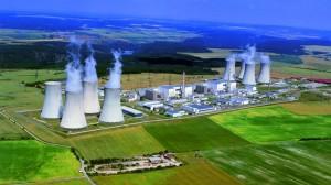 Letecký pohled na nejstarší českou jadernou elektrárnu
