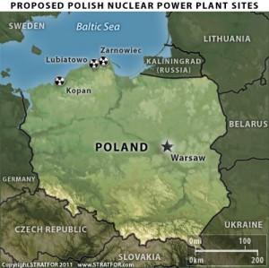 Mapa potenciálních polských jaderných objektů, zatím nebylo rozhodnuto, kde bude stát elektrárna. Zdroj: Forbes