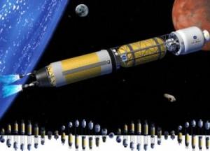 Nákres pilotovaného plavidla s jaderným pohonem z amerického Glennova výzkumného centra (Glenn Research Center), 2003. Loď pohání iontový pohon s jaderným zdrojem elektřiny. Na palubě je rotací vytvořena umělá gravitace. Zdroj: galspace.spb.ru