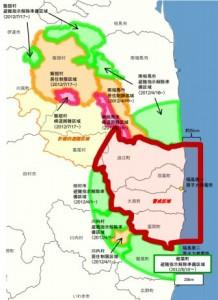 Evakuační pásma kolem Fukušimy, stav 10. srpna 2012. Zdroj: World Nuclear News