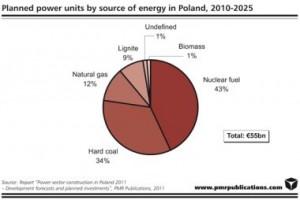 Polské energetické plány pro léta 2010-2025, počítající minimálně s jednou jadernou elektrárnou. V současnosti je situace zcela jiná - většinu elektřiny v zemi vyrábějí úhelné elektrárny. Zdroj: pmrpublications.com