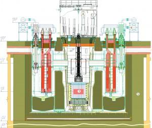 Schéma BRESTu. 1 - aktivní zóna, 2 - vyvíječ páry, 3 - čerpadlo, 4 - zavážecí stroj, 5 - reaktorová šachta, 6 - systém pro chlazení reaktoru v případě odstávky nebo havárie. Zdroj: Atomic-energy.ru