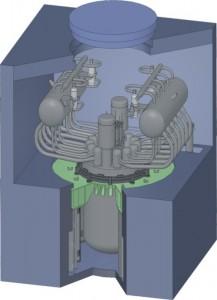 Hvězda letošního fóra Atomex-2012, pořádaného ruskou státní korporací Rosatom - malý reaktor SVBR-100, který chtějí Rusové postavit už za pět let. Zdroj: Gidropress