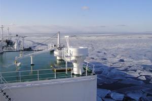 Záběr z tankeru Ob River. Zdroj: gazprom-mt.com