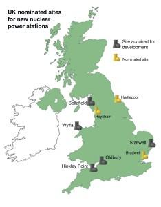 Mapa britských jaderných elektráren, Hinkley Point se nachází na západním pobřeží Spojeného království.   Nacházejí se tam dvě jaderné elektrárny, označované jako Hinkley Point A a B, elektrárna B je stále v provozu. Parcela pro novou elektrárnu nese název Hinkley Point C. Zdroj: namrc.co.uk