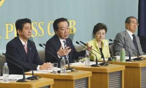 Lídři japonských politických stran. Zleva Šinzó Abe, bývalý japonský premiér a šéf Liberálně-demokratické strany Japonska, Jošihiko Noda, současný premiér a vůdce Demokratické strany, Jukika Kado, lídr Budoucnosti pro Japonsko, a Šintaro Išihara, šéf Strany pro obnovu Japonska. Zdroj: japantimes.co.jp