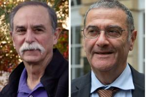 """David Wineland (vlevo) a Serge Haroche, letošní nositelé Nobelových cen za fyziku za """"revoluční pokusy, které ukázaly nové možnosti měření kvantových systémů a manipulace s nimi"""". Zdroj: ČTK"""