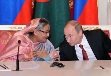 Šajcha Hasína a Vladimír Putin na setkání v Moskvě. Zdroj: WNN