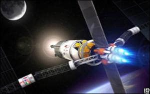 Umělecké ztvárnění plazmového raketového pohonu. Podle mnoha odborníků jsou jedinou  dnes známou a dobře využitelnou technologií, která by mohla umožnit vesmírné mise s lidskou posádkou na delší vzdálenosti. Zdroj:  discovery.com