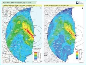 Srovnání zamoření z let 2011 a 2012. Je jasně vidět celkový pokles, především v oblastech, kde byla intenzita radiace nejsilnější. Zdroj: WNN