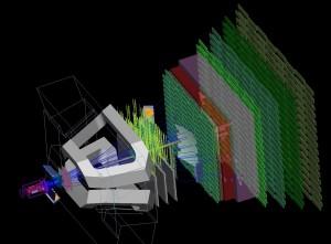 Experiment LHCb, šedá konstrukce představuje magnety, které soustředí vzniklé částice na sérii detektorů.