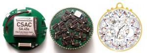 Nové hodinky od firmy Hoptroff, vlevo atomový hodinový čip.
