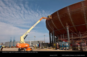 Dno kontejnmentu pro třetí blok jaderné elektrárny Vogtle. Fotka je sice trochu starší, ale výborně si z ní uděláte představu o rozměrech tohoto dílu. (Zdroj: Southerncompany.com)
