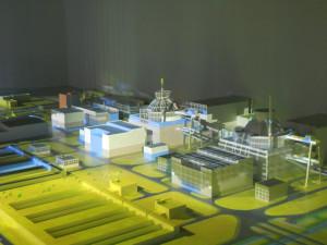 Model jaderné elektrárny s reaktory VVER-TOI, připravený speciálně pro tuto konferenci. Foto Atominfo.cz
