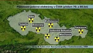 Původní plán míst vhodných pro výstavbu jaderných elektráren Zdroj: bezpecnytemelin.cz