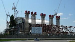 Stavba nového černobylského krytu. Zdroj: Atomic-energy.ru