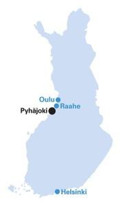 Poloha budoucí jaderné elektrárny na mapě Finska. I když vznikne poblíž města Pyhäjoki, ponese název Hanhiviki podle poloostrova, na němž leží. (Zdroj: Fennovoima.fi)