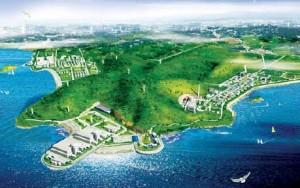 Pohled na lokalitu Čchin-šan (Qinshan), která je domovem již sedmi pracujících jaderných reaktorů a další mají vzniknout v rozkopaném kopci. (Zdroj: Chinadaily.com.cn)