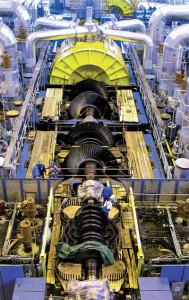 Temelínská turbína se skládá z jednoho vysokotlakého dílu a tří nízkotlakých, celkem má na délku 63 metrů. (Zdroj: Transformacni-technologie.cz)