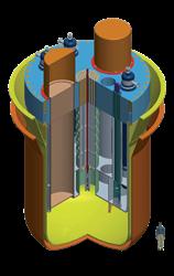 Virtuální model budoucí výzkumného reaktoru s figurkou pro představu o jeho velikosti. (Zdroj: Myrrha.sckcen.be)