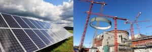 Nalevo německé solární parky a napravo výstavba jaderné elektrárny Olkiluoto 3.