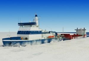 Vizualizace budoucí podoby největšího atomového ledoborce na světě s označením LK-60. (Zdroj: Barentsobserver.com)
