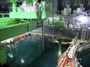 Přemisťování palivových kazet do přepravního kontejneru. (Zdroj: Japantimes.co.jp)
