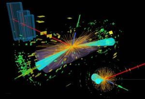 Počítačová vizualizace rozpadu Higgsova bosonu a následného rozpadu tauonu.