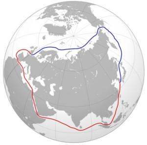 Severní mořská cesta mezi Londýnem a Jokohamou ve srovnání s cestou Suezským průplavem. (Zdroj: Patria.cz)