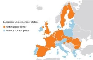 14 zemí (označené oranžovou barvou) z 28 členských zemí Evropské unie (označené modrou barvou) provozuje jaderné elektrárny. Ze zemí mimo EU se jaderná energetika podílí na výrobě energie ve Švýcarsku, na Ukrajině a v Ruské federaci. (Zdroj: World Nuclear News)