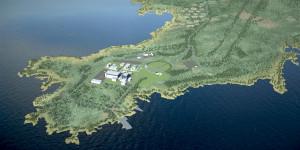 Jedna z vizualizací budoucí podoby jaderné elektrárny Hanhikivi. (Zdroj: Vihrealanka.fi)