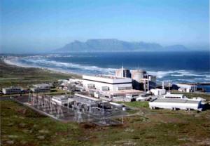Jediná jaderná elektrárna vJAR  leží poblíž města Melkbosstrand nedaleko od Kapského města. (Zdroj: Nuclearstreet.com)