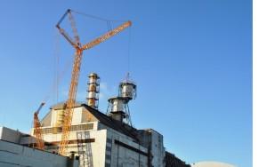 Snímání jedné ze sedmi sekcí ventilačního komína společného pro třetí a čtvrtý blok Černobylské jaderné elektrárny. (Zdroj: Ukrtransbud.com)