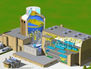 Řez vizualizací bloku jaderné elektrárny s reaktorem AP1000. (Zdroj: Ap1000.westinghousenuclear.cz)