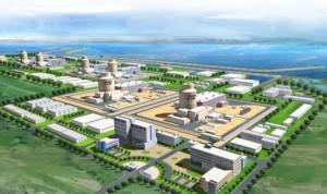 Vizualizace budoucí elektrárny Shidaowan, v popředí dva testovací bloky CAP1400, vzadu další čtyři sériové. Taková elektrárna by s výkonem kolem 9000 MWe patřila k největším na světě.
