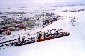 Zimní pohled na nákladní přístav v Dudince. (Zdroj: E-river.ru)