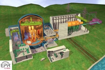Řez virtuálním modelem reaktoru typu EPR, který je ve výstavbě ve finském Olkiluotu. V indické lokalitě Džajtapúr by jich jednou mohlo stát vedle sebe šest. (Zdroj: Tretiruka.cz)
