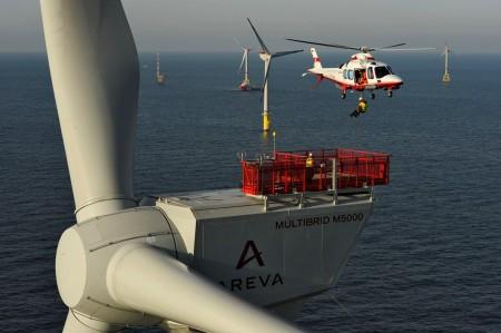 5MW větrná turbína společnosti Areva v pobřežním větrném parku. (Zdroj: Offshorewind.biz)