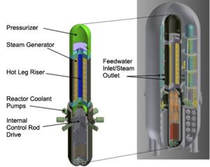 Řez reaktorem typu SMR společnosti Westinghouse. Všimněte si integrovaného parogenerátoru do tlakové nádoby. (Zdroj: Ameren.com)