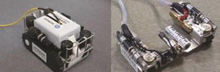"""Na levém snímku je robot """"potápěč"""" a vpravo robot s měnitelným tvarem. (Zdroj: World Nuclear News)"""