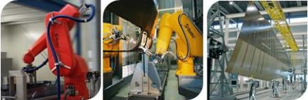 Ukázka robotů společnosti NDE Solutions určených k nedestruktivní diagnostice dílů. Na obrázku vlevo je jednoduchý robot, prostřední obrázek znázorňuje dvojitého robota vhodného pro diagnostiku tvarově složitých a rozměrných dílů a na posledním obrázku zaujímá hlavní pozici letecké křídlo, které je právě diagnostikováno. (Zdroj: Areva.com)